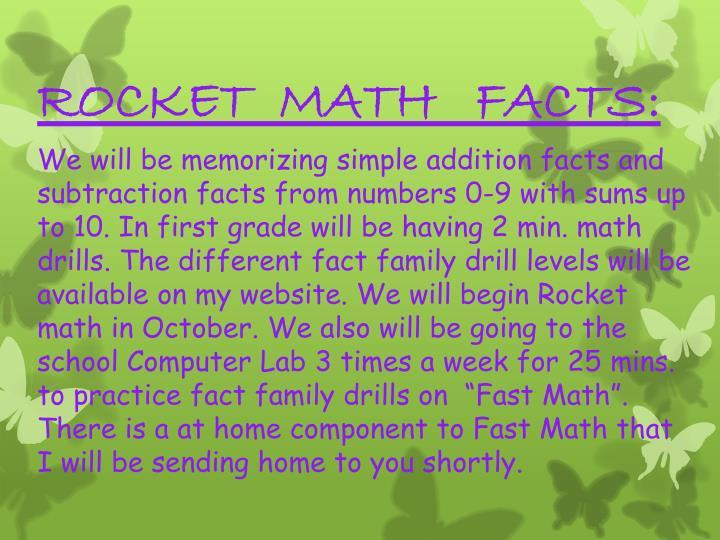 ROCKET  MATH   FACTS