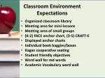 classroom environment expectations