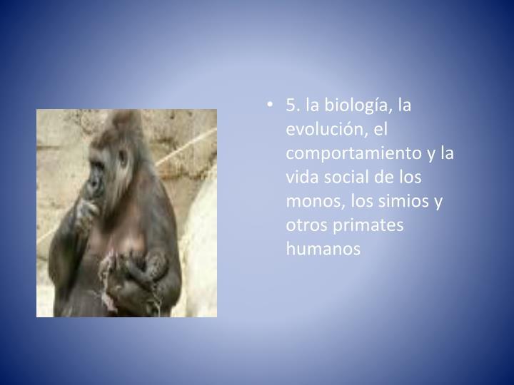 5. la biología, la evolución, el comportamiento y la vida social de los monos, los simios y otros primates humanos