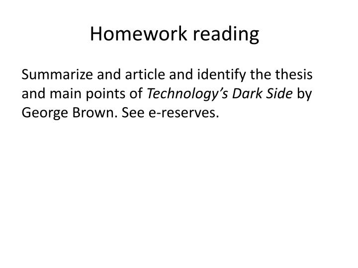 Homework reading