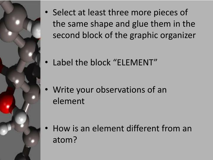 Select at least three more pieces of the same shape and glue them in the second block of the graphic organizer