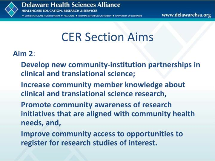 CER Section Aims
