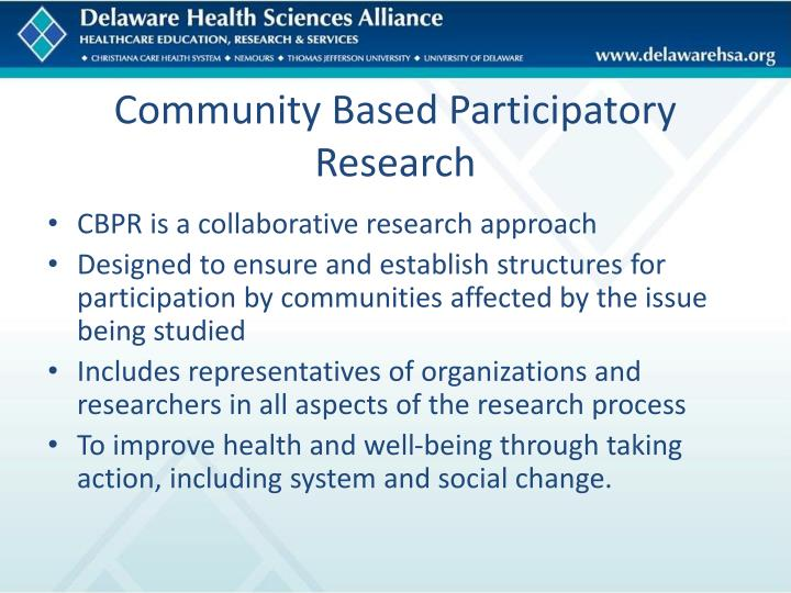 Community based participatory research1