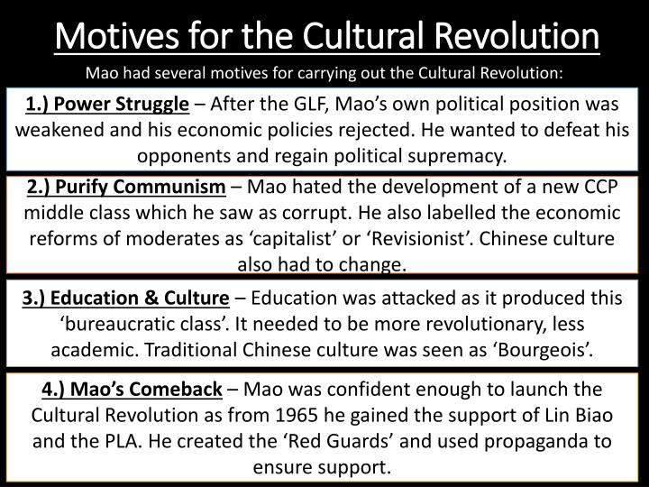 Motives for the Cultural Revolution