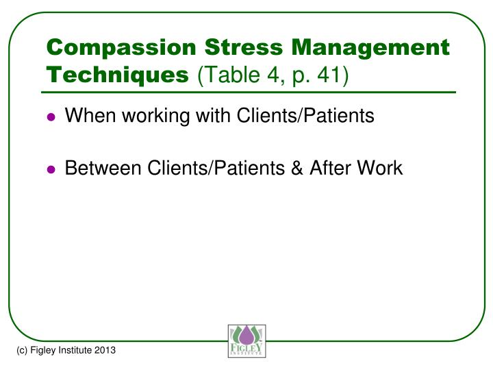 Compassion Stress Management Techniques