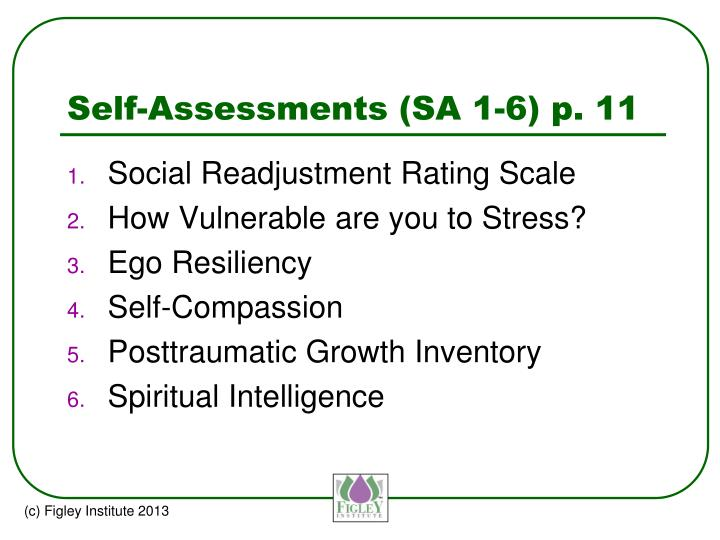 Self-Assessments (SA 1-6) p. 11