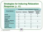 strategies for inducing relaxation response p 40