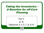 taking the inventories a baseline for elf care planning