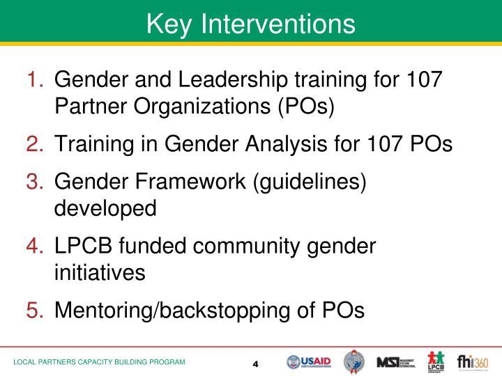 Key Interventions