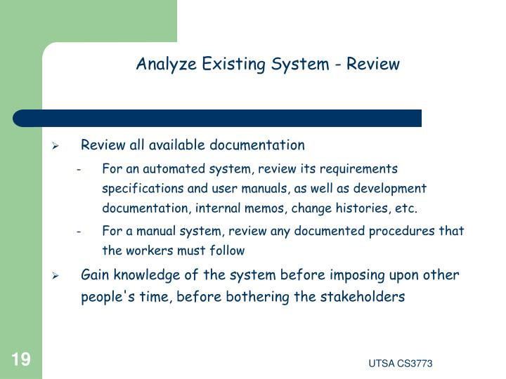 Analyze Existing System - Review