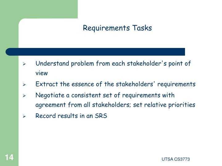 Requirements Tasks