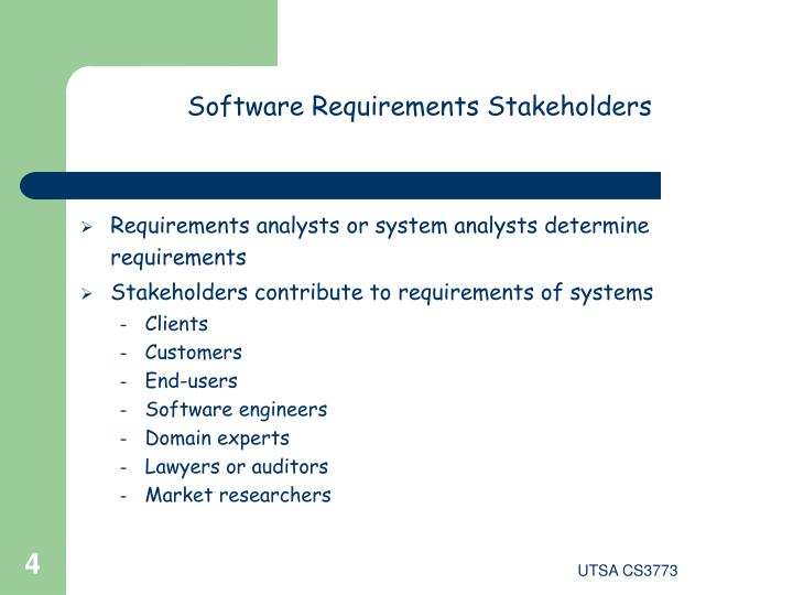 Software Requirements Stakeholders