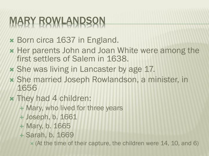 Born circa 1637 in England.