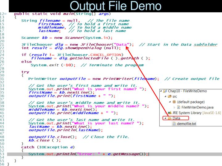 Output File Demo
