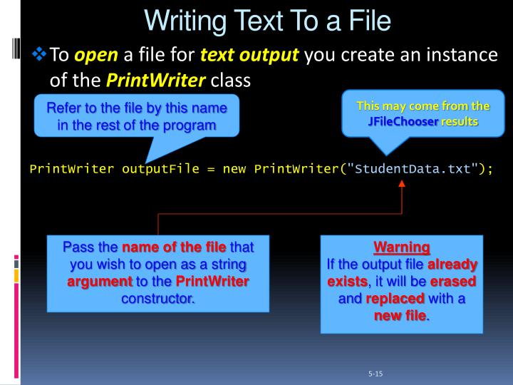 Writing Text To a File