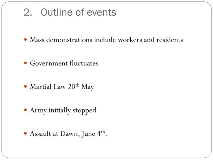 Outline of events
