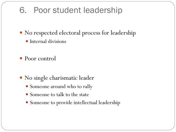 Poor student leadership