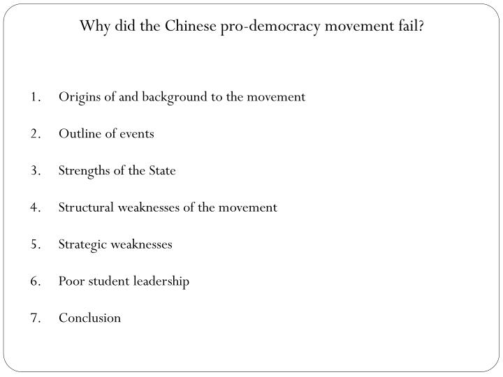 Why did the Chinese pro-democracy movement fail?