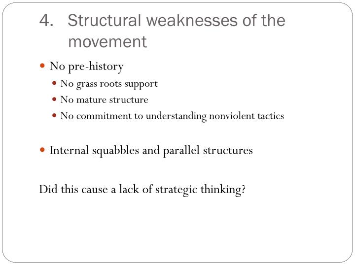 Structural weaknesses of the movement
