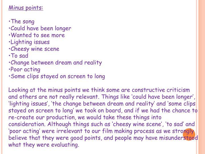 Minus points: