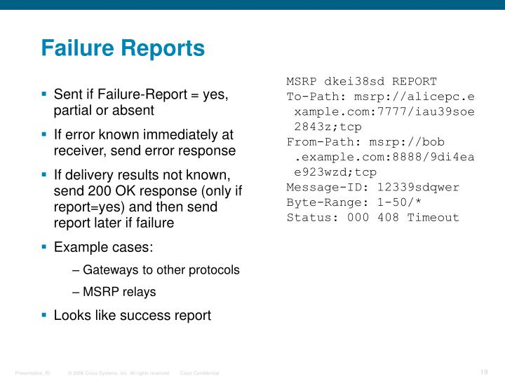 Sent if Failure-Report = yes, partial or absent
