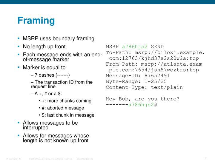 MSRP uses boundary framing