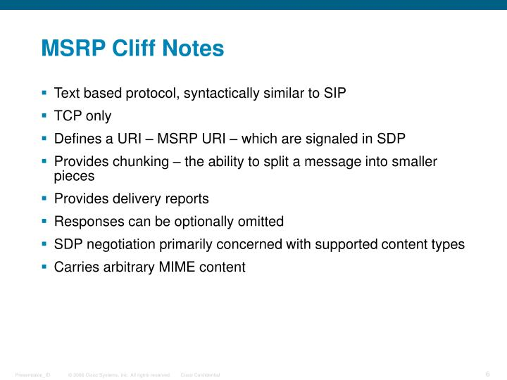MSRP Cliff Notes