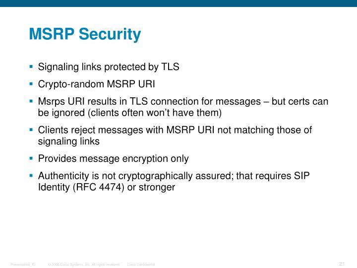 MSRP Security