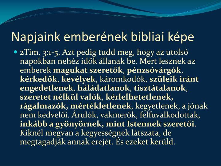 Napjaink emberének bibliai képe