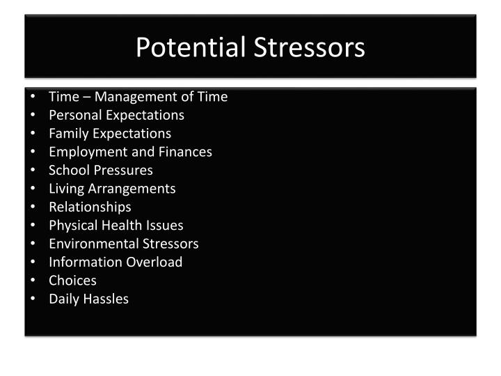 Potential Stressors