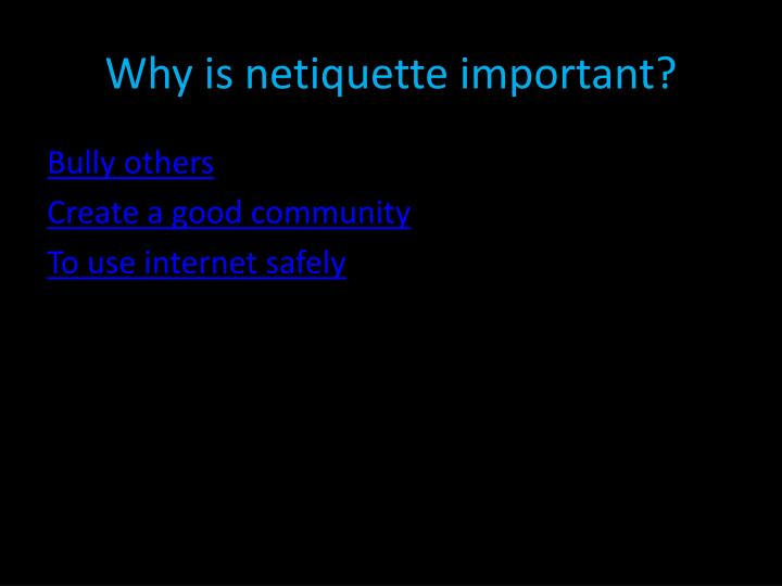 Why is netiquette important?