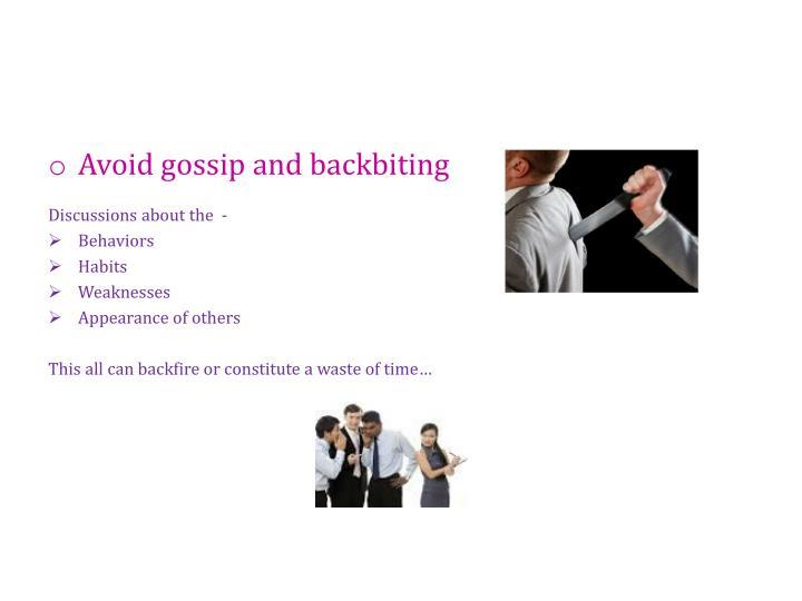 Avoid gossip and backbiting