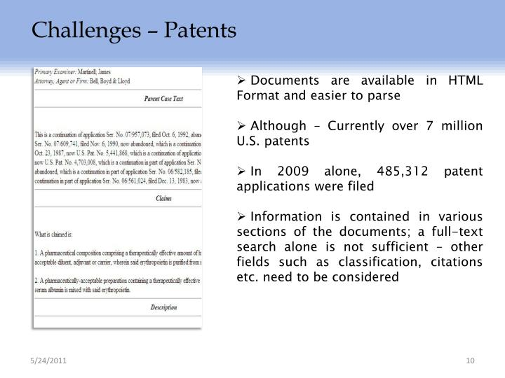 Challenges – Patents