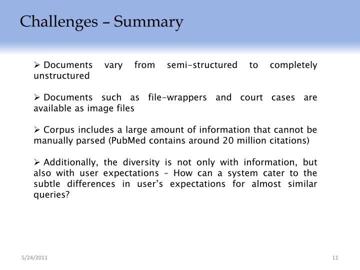 Challenges – Summary
