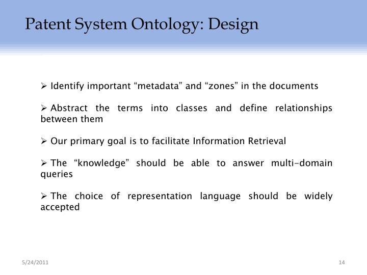 Patent System Ontology: Design