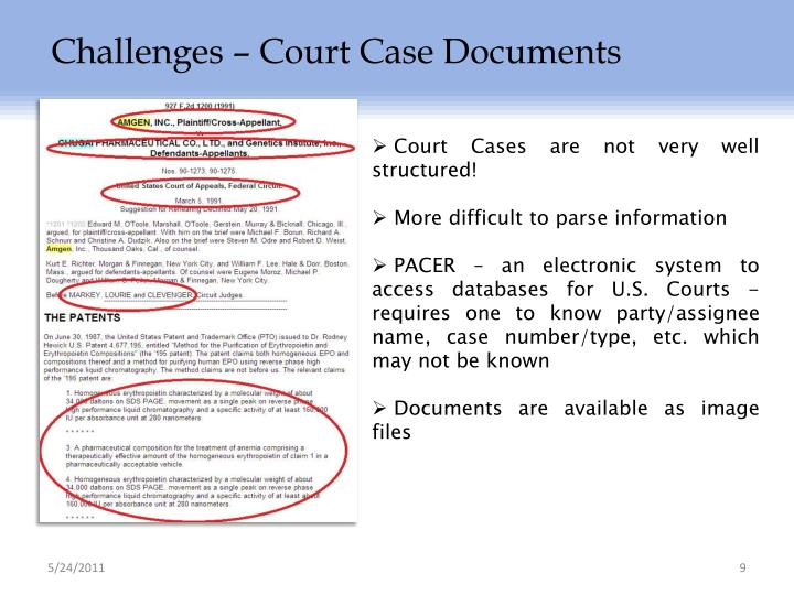 Challenges – Court Case Documents