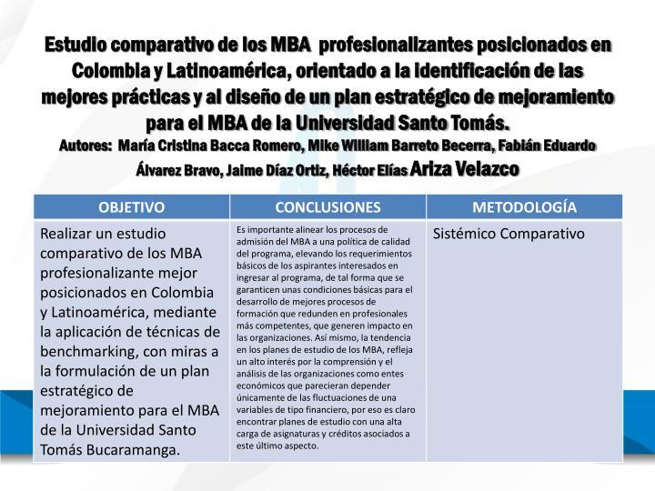 Estudio comparativo de los MBA