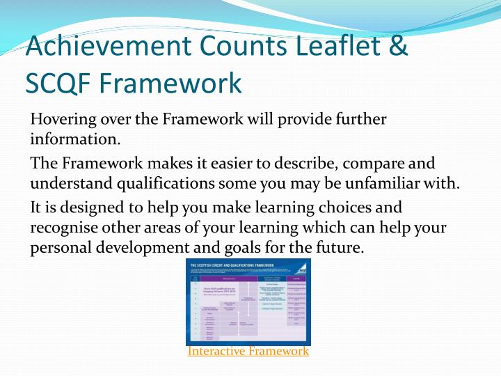Achievement Counts Leaflet & SCQF Framework