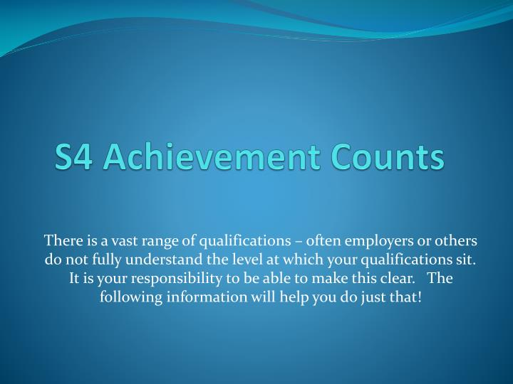 S4 Achievement Counts
