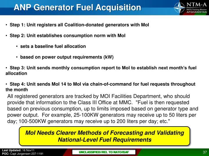 ANP Generator Fuel Acquisition