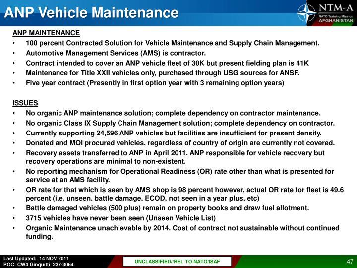 ANP Vehicle Maintenance