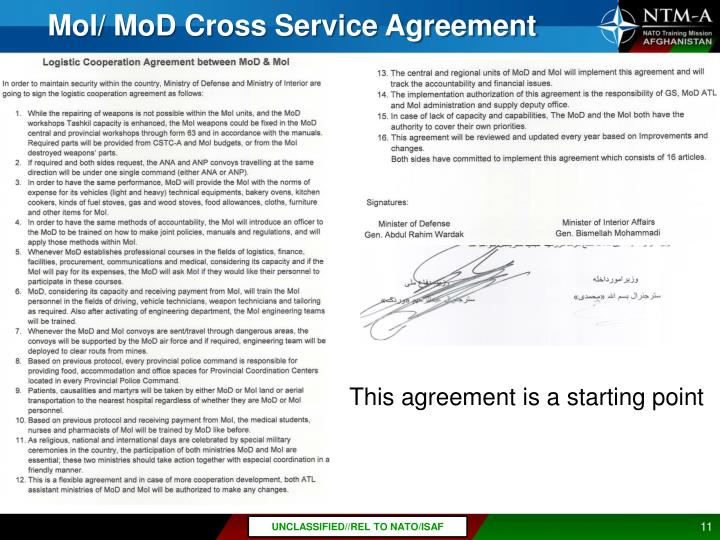MoI/ MoD Cross Service Agreement