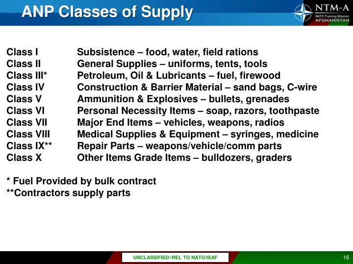 ANP Classes of Supply