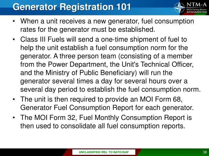 Generator Registration 101
