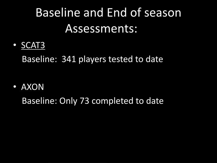 Baseline and End of season Assessments: