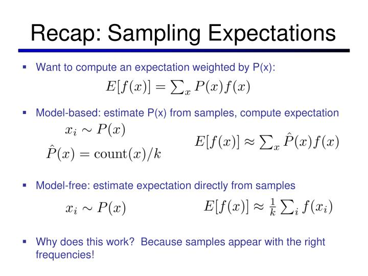 Recap: Sampling Expectations