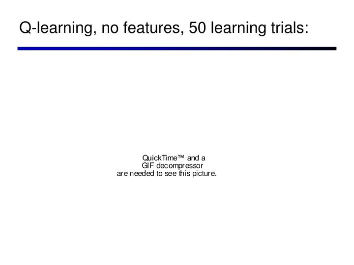 Q-learning, no features, 50 learning trials: