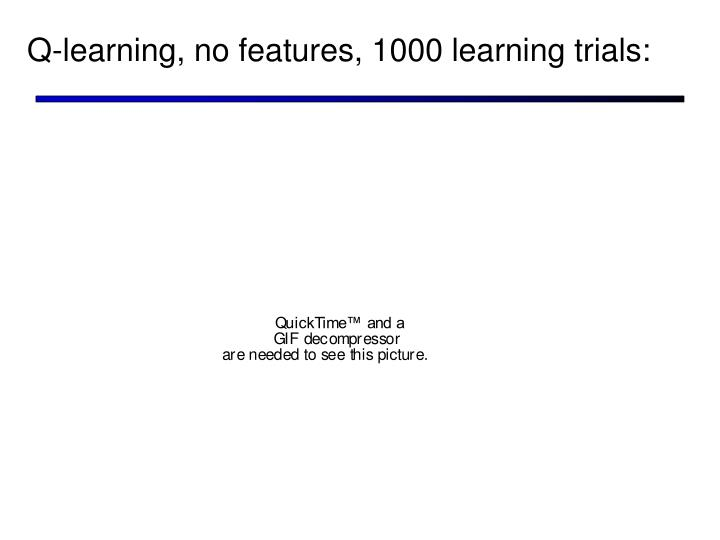 Q-learning, no features, 1000 learning trials: