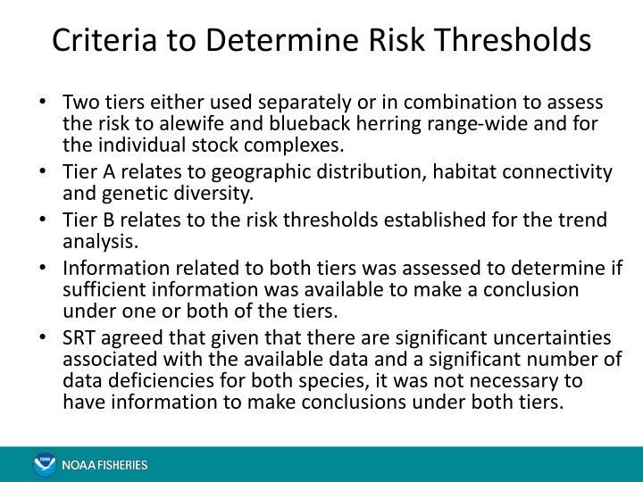Criteria to Determine Risk Thresholds