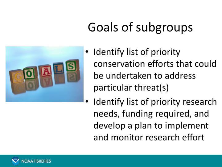 Goals of subgroups